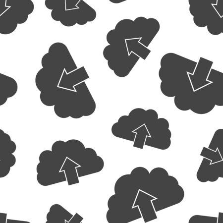 구름 인터넷 다운로드 원활한 패턴 배경입니다. 비즈니스 플랫 벡터 일러스트 레이 션. 컴퓨터 기호 패턴을 구름. 일러스트