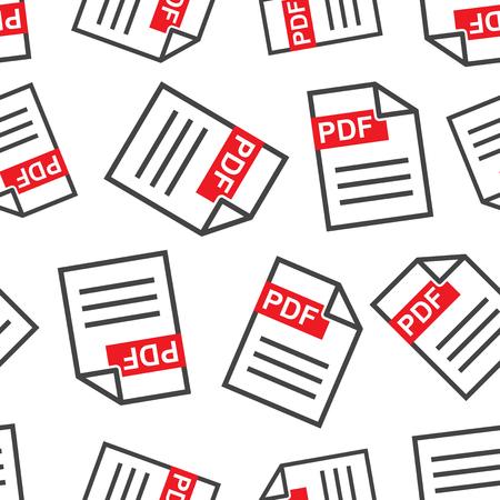 Descargar PDF de fondo sin patrón. Ilustración de vector plano de negocios. Patrón de símbolo de signo de tablero de formato PDF. Foto de archivo - 92330262