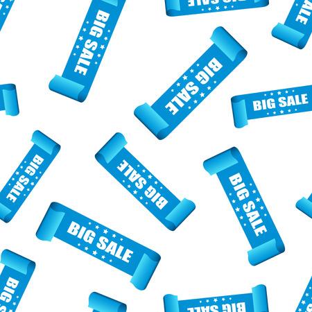 Big sale ribbon seamless pattern background. Business flat vector illustration. Discount shopping sale sticker sign symbol pattern.