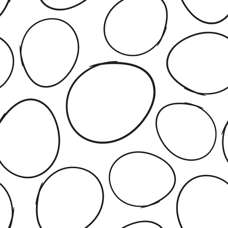 Hand getrokken Krabbel cirkels naadloze patroon achtergrond. Zakelijke platte vectorillustratie. Cirkels ondertekenen symboolpatroon.