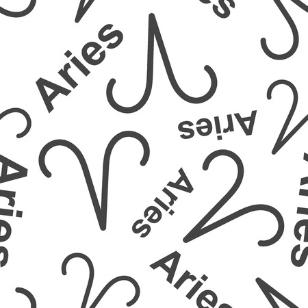 Aries zodiac sign seamless pattern background. Business flat vector illustration. Aries astrology sign symbol pattern. Illustration