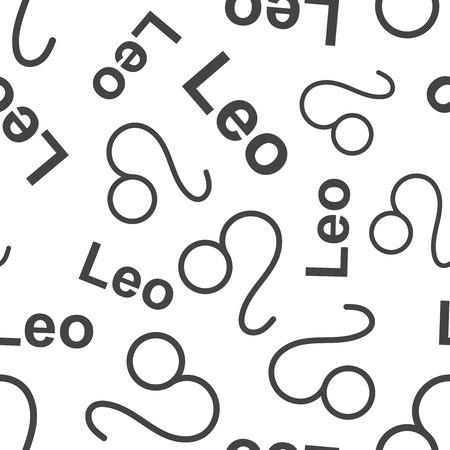 Leo zodiac sign seamless pattern background. Business flat vector illustration. Leo astrology sign symbol pattern.