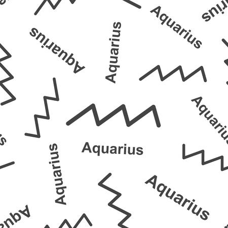 Aquarius zodiac sign seamless pattern background. Business flat vector illustration. Aquarius astrology sign symbol pattern.