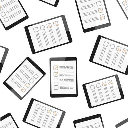 Businessman checklist with tablet pc seamless pattern background. Business flat vector illustration. Checklist, task list symbol pattern.