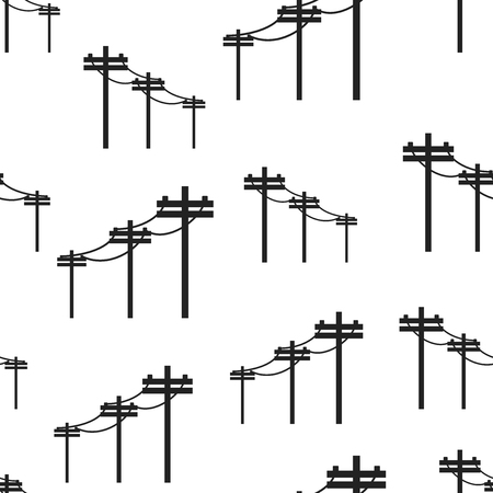 High voltage power lines seamless pattern background. Business flat vector illustration. Electric pole symbol pattern.