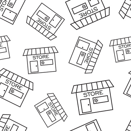 Winkel winkel naadloze patroon achtergrond. Zakelijke platte vectorillustratie. Markt het winkelen symboolpatroon.