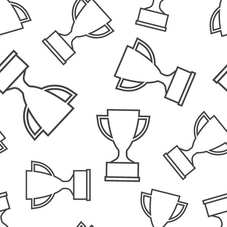 Trophy cup seamless pattern background. Business flat vector illustration. Award winner symbol pattern.