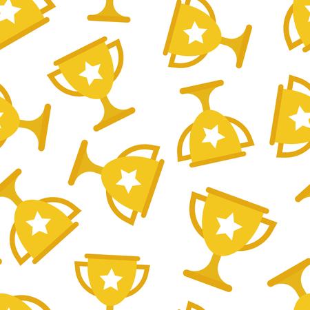 Trophy cup seamless pattern background. Business flat vector illustration. Award winner symbol pattern.