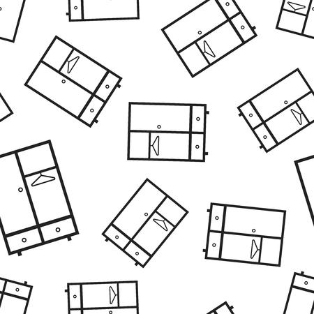 Cupboard furniture seamless pattern background. Business flat vector illustration. Furniture symbol pattern. Vectores