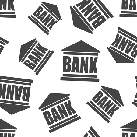 Bank building seamless pattern background. Business flat vector illustration. Bank symbol pattern.