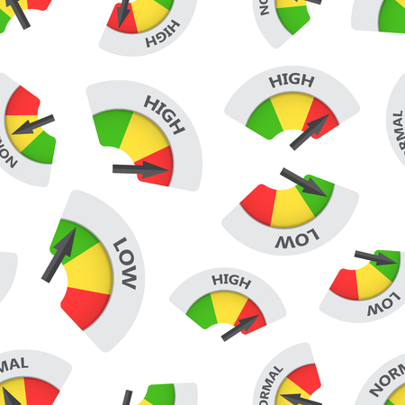 High, normal, low level risk gauge seamless pattern background. Business flat vector illustration. Fuel level symbol pattern.