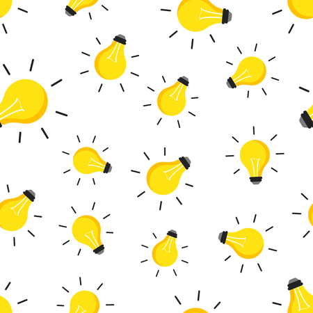 Halogen lightbulb seamless pattern background. Business flat vector illustration. Electricity and idea symbol pattern.