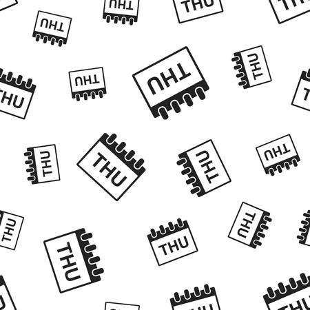 Thursday calendar page seamless pattern background. Business flat vector illustration. Thursday symbol pattern.