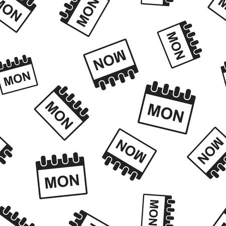 Monday calendar page seamless pattern background. Business flat vector illustration. Monday symbol pattern. Illustration