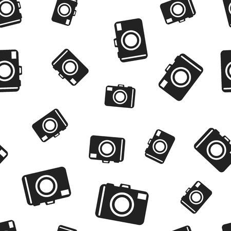 Camera seamless pattern background. Business flat vector illustration. Photocamera symbol pattern. Illustration