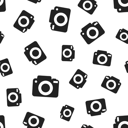 Camera seamless pattern background. Business flat vector illustration. Photocamera symbol pattern. Illusztráció