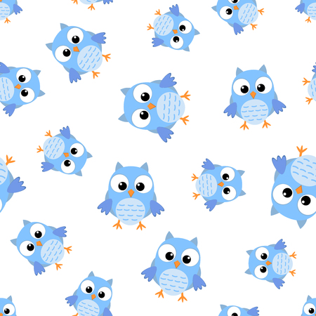 Cute cartoon owl seamless pattern background. Business flat vector illustration. Owl bird symbol pattern. 일러스트