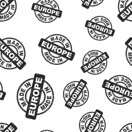 Made in Europe stamp seamless pattern background. Business flat vector illustration. Manufactured in Europe symbol pattern. 일러스트