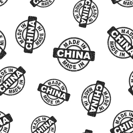 Made in China stamp seamless pattern background. Business flat vector illustration. Manufactured in China symbol pattern. Illusztráció