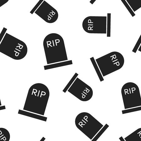 Halloween grave seamless pattern background. Business flat vector illustration. Rip tombstone gravestone sign symbol pattern.