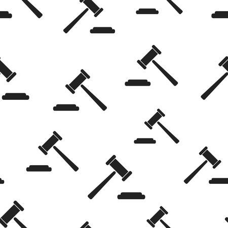Auction hammer seamless pattern background. Business flat vector illustration. Court tribunal sign symbol pattern.