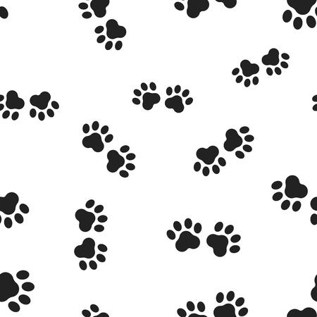 Animal paw print seamless pattern background. Business flat vector illustration. Dog or cat paw print sign symbol pattern. 일러스트