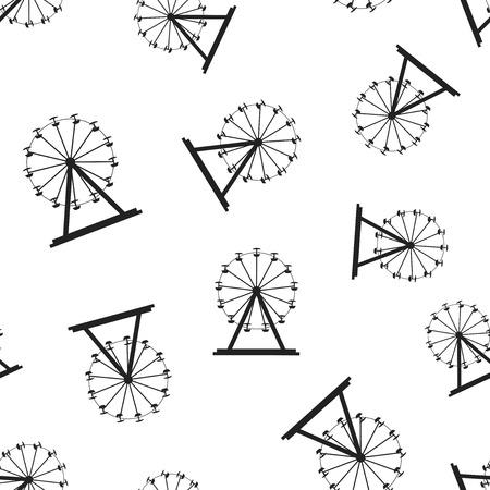 Ferris wheel seamless pattern background. Business flat vector illustration. Carousel amusement ride sign symbol pattern.