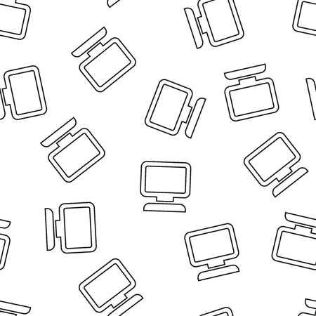 Computer seamless pattern background. Business flat vector illustration. Monitor sign symbol pattern.