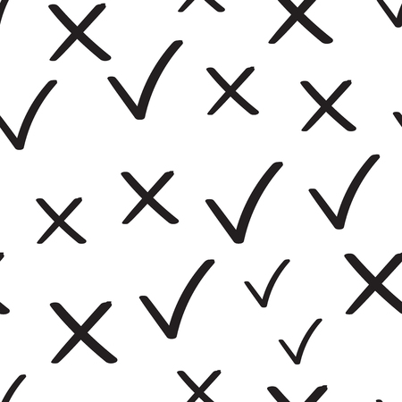 Check marks tick and cross seamless pattern background. Business flat vector illustration. Yes and no checkmark sign symbol pattern.