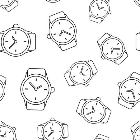 Watch clock seamless pattern background. Business flat vector illustration. Clock sign symbol pattern. Ilustrace