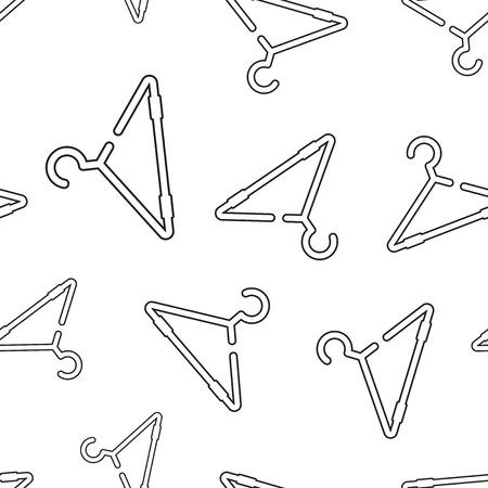Clothes hanger seamless pattern background. Business flat vector illustration. Wardrobe hander sign symbol pattern. Ilustração