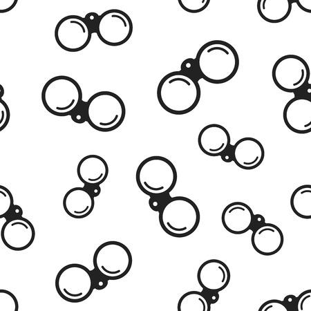 Binoculaire naadloze patroonachtergrond. Zakelijke platte vectorillustratie. Verrekijker verkennen teken symbool patroon.