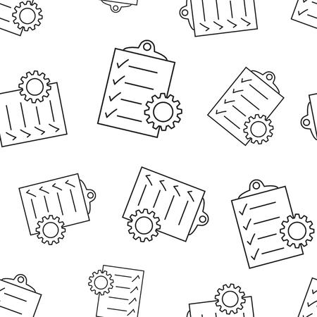 Document met achtergrond van het toestel de naadloze patroon. Zakelijke platte vectorillustratie. Project management teken symbool patroon.