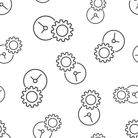 Document with gear seamless pattern background. Business flat vector illustration. Project management sign symbol pattern. Çizim