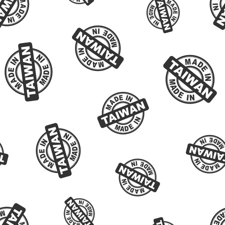 Made in Taiwan stamp seamless pattern background. Business flat vector illustration. Manufactured in Taiwan symbol pattern. Illusztráció