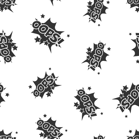 Oops comic sound effects seamless pattern background. Business flat vector illustration. Oops comic cartoon expression sign symbol pattern.