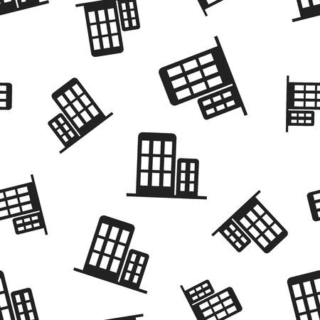 Building hotel seamless pattern background. Business flat vector illustration. Building sign symbol pattern.