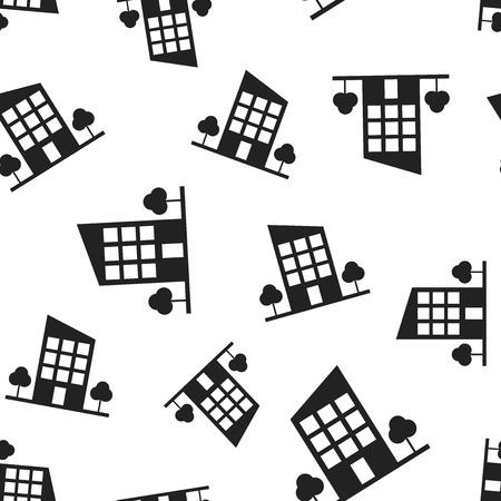 Nahtloser Musterhintergrund der Gebäudehotelbäume. Geschäft flache Vektor-Illustration. Gebäude Zeichen Symbol Muster. Standard-Bild - 94023280