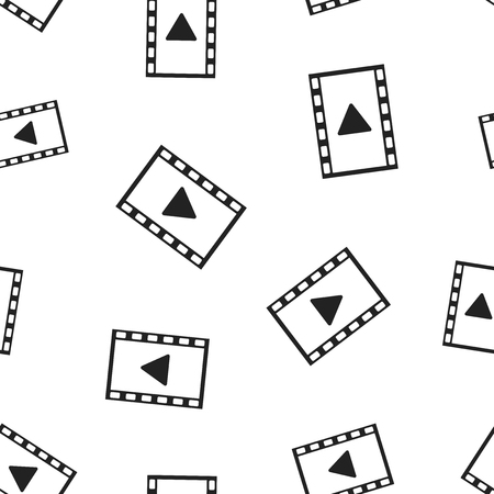 Play video seamless pattern background. Business flat vector illustration. Play button symbol pattern.