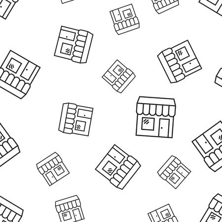 Loja de shopping edifício sem costura de fundo. Ilustração em vetor conceito empresarial. Padrão de símbolo de mercado de loja. Foto de archivo - 94602292