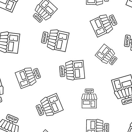 Winkelcomplex bouwen naadloze patroon achtergrond. Bedrijfs concept vectorillustratie. Winkel markt symbool patroon. Stock Illustratie