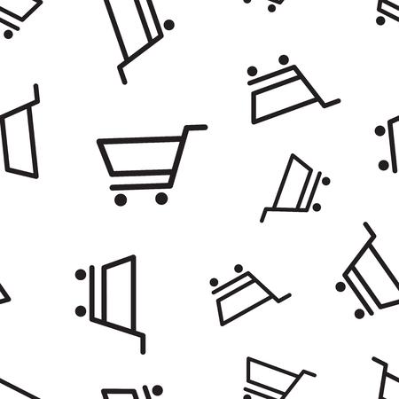 Shopping cart seamless pattern background. Business concept vector illustration. Cart symbol pattern. Illustration