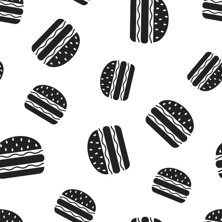 Burger fast food seamless pattern background. Business concept vector illustration. Hamburger symbol pattern. Иллюстрация
