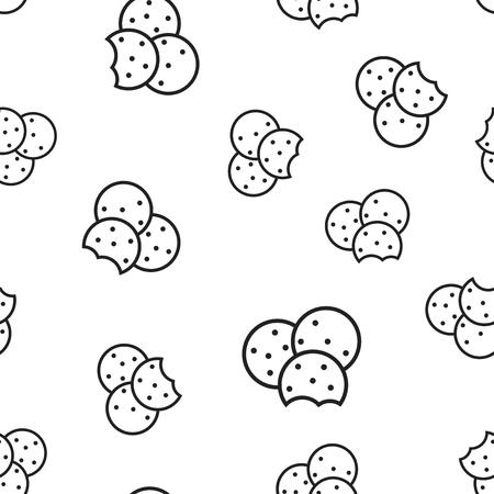 Cookie seamless pattern background. Business concept vector illustration. Chip biscuit dessert food symbol pattern.