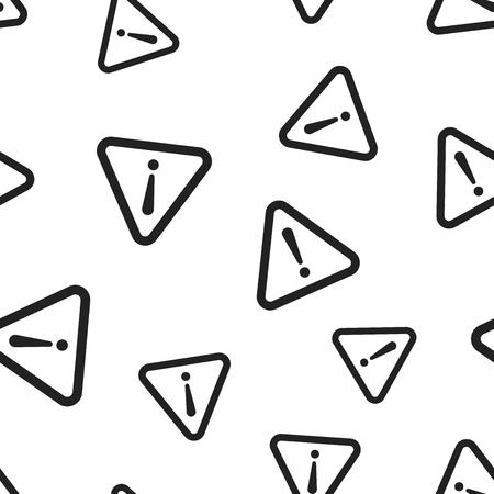 Gevaar teken naadloze patroon achtergrond. Bedrijfs concept vectorillustratie. Aandacht, waarschuwingssymboolpatroon.