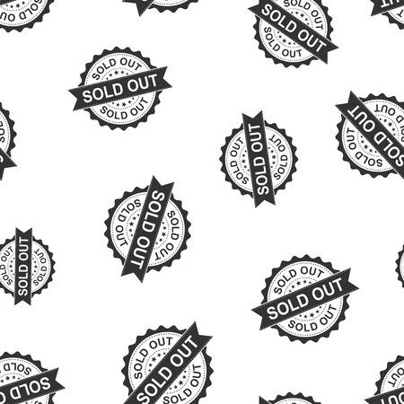 Sold out seal stamp seamless pattern background. Business concept vector illustration. Sold badge symbol pattern. Illusztráció