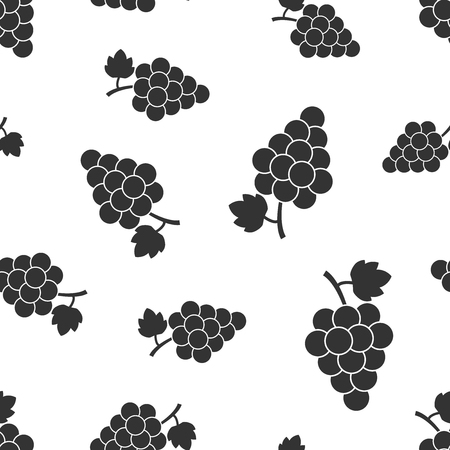Grape fruit with leaf seamless pattern background. Business concept vector illustration. Bunch of wine grapevine symbol pattern. Illustration