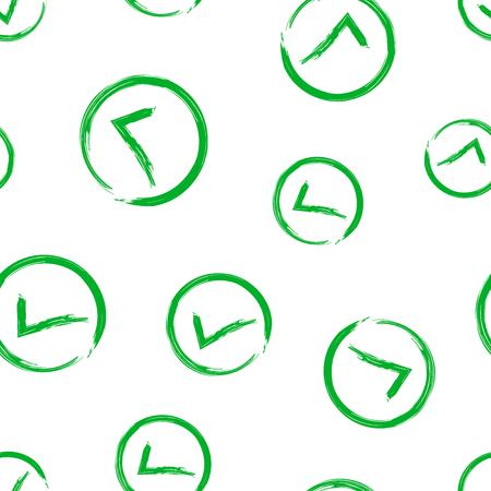 Check marks ok, accept seamless pattern background. Business concept vector illustration. Yes checkmark symbol pattern. Ilustração