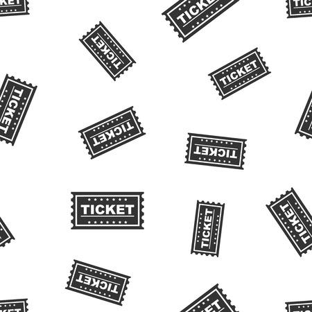 Ticket seamless pattern background icon. Flat vector illustration. Ticket sign symbol pattern. Stock Vector - 95145505