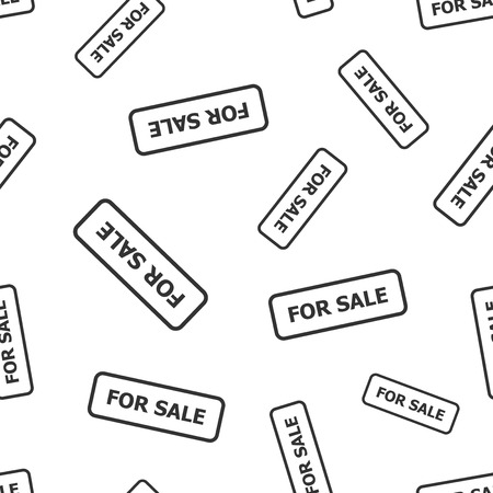 For sale stamp seamless pattern. Business concept for sale pictogram. Vector illustration on white background.